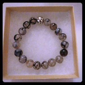 Jewelry - Black Crackle Agate Stone Bracelet
